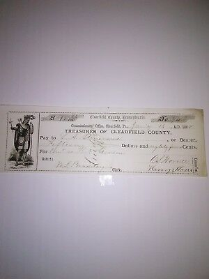 Old 1868 Bank Check Clearfield Pa