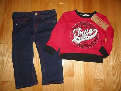 True Religion Baby Boys Jeans Sweatshirt Set Outfit Toddler 18M 24M NWT