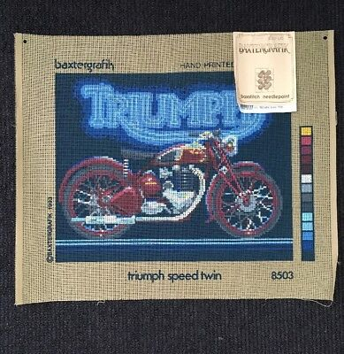 Baxtergrafix Needlepoint Tapestry Canvas - Triumph Speed Twin Motorcycle 38x30cm