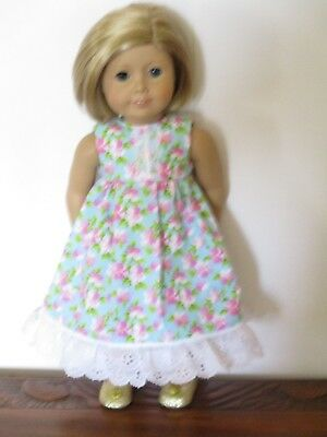 """HANDMADE DOLL CLOTHES FITS 18"""" AMERICAN GIRL - Lovely Floral Dress"""