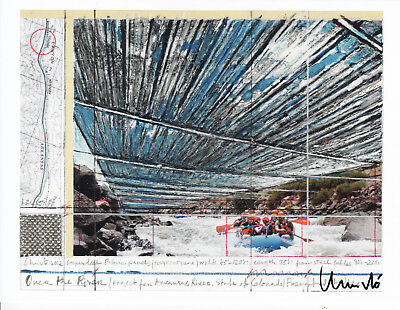 "CHRISTO (1935) ""OVER THE RIVER Colorado"" orig. sign. card 13x17 / autograph"