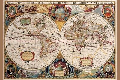 World Map 17th Century Antique Vintage Art Print Poster 12x18