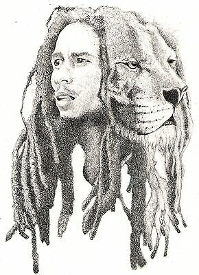 LION OF ZION Bob Marley limited edition art print signed artwork 8.5x11 #45/100