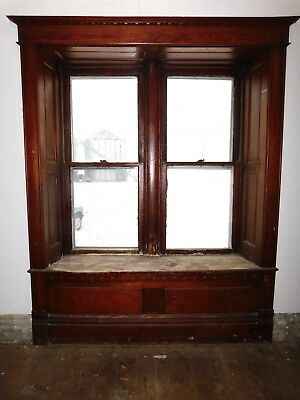 Antique Victorian Built-In Window Seat w/ Drawers -C. 1885 Architectural Salvage