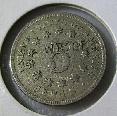 """1868 US 5 Cent Shield Nickel COUNTERSTAMPED """"C.J. Wright"""" -- $0.99 NO RESERVE"""
