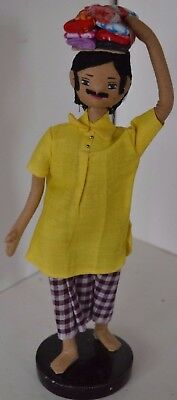 Vintage Stuffed Doll Tailor Asian Oriental On Stand Yellow Shirt Souvenir