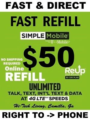 $50 Simple Mobile >>Fastest<< Refill Re-Up Direct Electronic Guaranteed