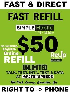 $50 SIMPLE MOBILE >>Fastest<< Refill Re-Up Direct > Trusted Usa Seller <
