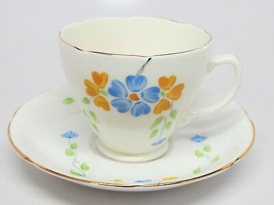 Sampson Smith Old Royal China - Blue & Gold Flowers Cup & Saucer Set - England