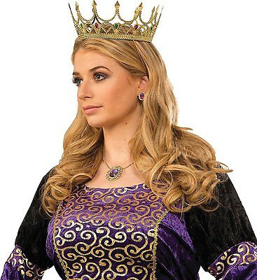 Royal Medieval Celtic Gold Queen Princess Crown with Gems Renaissance Costume