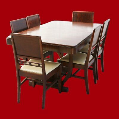 Art Deco Dining Table with Butterfly Leaf & 6 Chairs