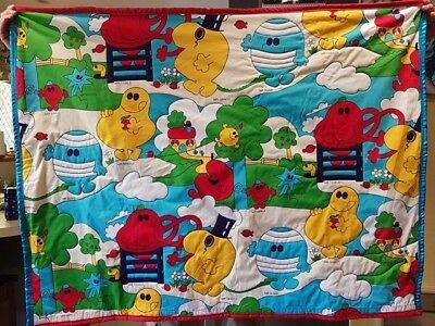 Hand made Mr Men quilt, appliqued around some Mr Men