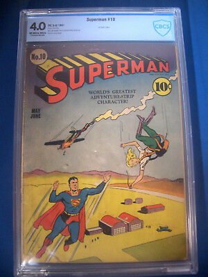 1941 * SUPERMAN #10 * DC Comics CBCS 4.0 VG Rare WHITE Pages * FIRST BALD LUTHOR