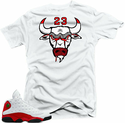 c704e2a4d0431e SHIRT TO MATCH Air Jordan 13 Chicago Sneakers Bull23 White Tee ...