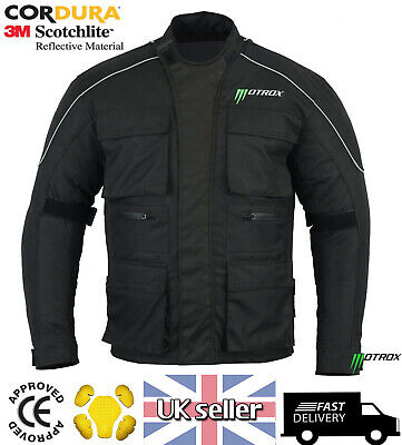 Motorcycle Motorbike Mens Jacket Waterproof Textile Black CE Armoured