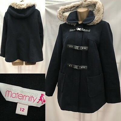 Red Herring Maternity Coat Size 12 Duffle style fur hood navy blue 557