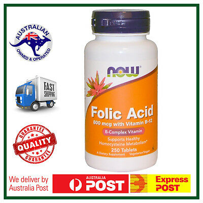 Folic Acid with Vitamin B-12, 800 mcg, 250 Tablets by NOW Foods - FAST SHIP AU