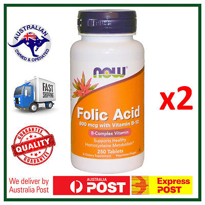TWIN PACK: Folic Acid with Vitamin B-12, 800 mcg, 500 Tablets, NOW Foods, VALUE!