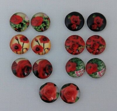 12mm Red Rose Cabochons Glass Domed - Flower Nature Cabs DIY Earrings  FBC133-2
