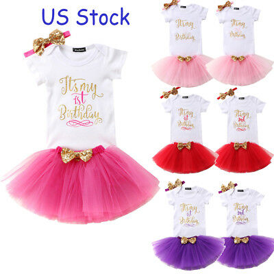 US Stock Baby Girl Birthday Dress Rompers Tutu Skirt Headband Outfit Clothes Set