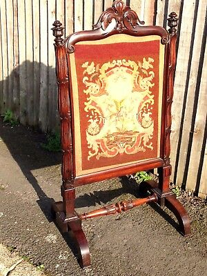 Gillows quality antique fire screen, William the 4th