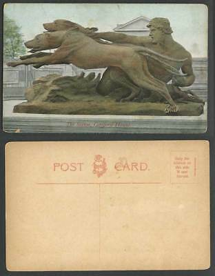 Gosford House, The Statue, Dog Dogs, Longniddry East Lothian Old Colour Postcard