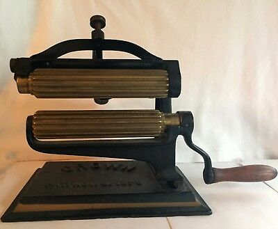 1875 - CROWN Antique Fluting Pleating Crimper Sad Iron Cast Iron Brass Farmhouse