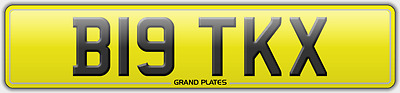Big Reg B19 Tkx Number Plate Initials Registration Assigned Free No Fees Rare Tk