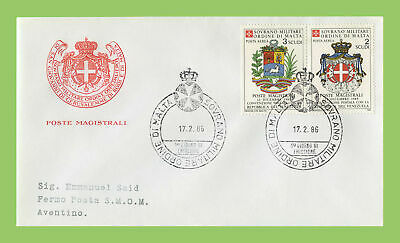 Malta 1986 Sovreign Order 17.02.1986 Christmas Arms First Day Cover