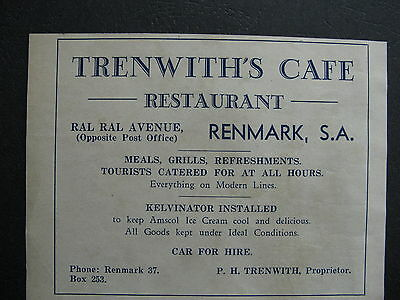 Trenwith's Cafe Resteraunt Ral Ral Ave Renmark P H Trenwith Proprietor c1935