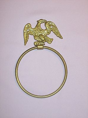 Vintage Antique solid brass EAGLE towel ring  No hardware