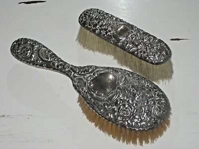 Antique Sterling Silver Repousse' Brush Set Floral Pattern No Monogram
