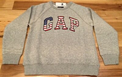 Gap Kids Boys Medium (8-9) Gray GAP Logo America Sweatshirt. Nwt