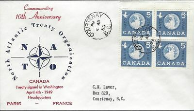 1959 #384 NATO 10th Ann FDC with Capital cachet