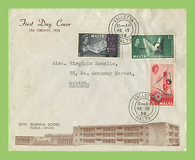 Malta 1958 Technical Education set on Paola Technical School First Day Cover