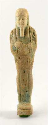 Egypt Late Period 30th Dynasty light green glazed faience ushabti