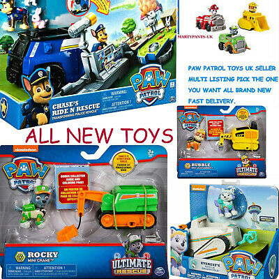 Genuine Paw Patrol Toys Tracker Syke Chase Rocky Rubble Vehicle's & Figures  New
