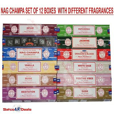 SET A Genuine Nag Champa Variety Box Incense 12 x 15g Satya Sai Baba INSENCE NEW