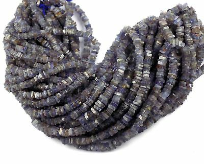 "1 Strands Natural Tanzanite Square 4.5-5.5mm 16"" Long Smooth Heishi Drilled Bead"