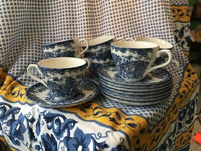 Churchill Blue Brook Pattern Coffee Cup and Saucer Set Of 8 Made In England