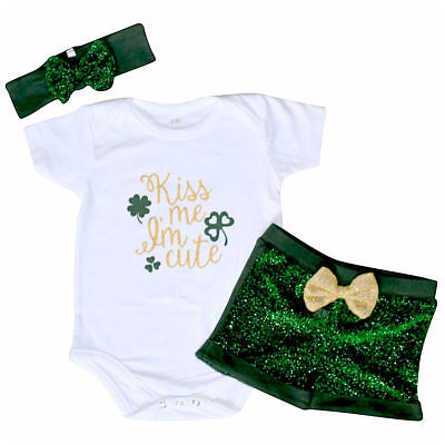 Unique Baby Girls 1st ST Patricks Day Kiss Me I'm Cute Layette Set Outfit