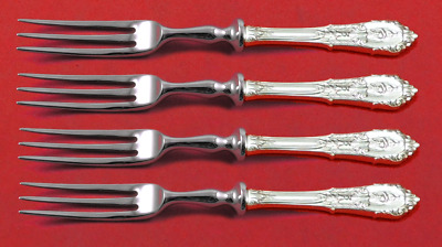 "Rose Point by Wallace Sterling Silver Fruit Fork Set 4pc Custom Made 6"" HH WS"