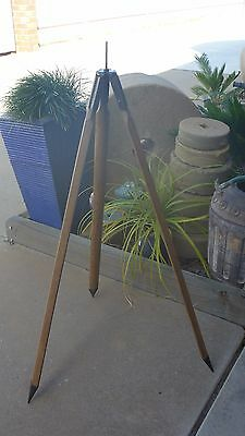 Vintage Antique Wooden & Metal Surveyors Tripod - 1969 - convert to floor lamp