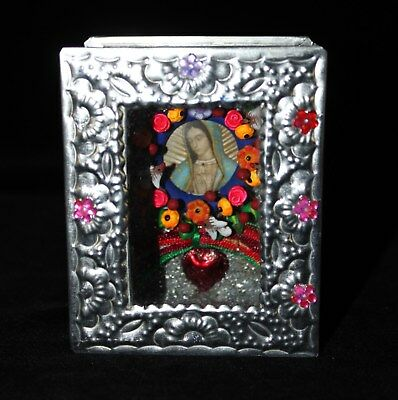 Our Lady of Guadalupe with Flowers Hand Made Tin Shadow Box Mexican Folk Art