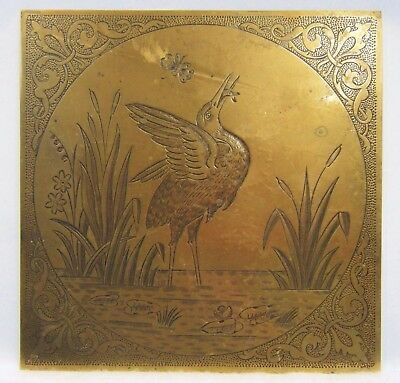 Attractive Arts & Craft C19th Victorian Aesthetic Movement Brass Tile / Plaque.!
