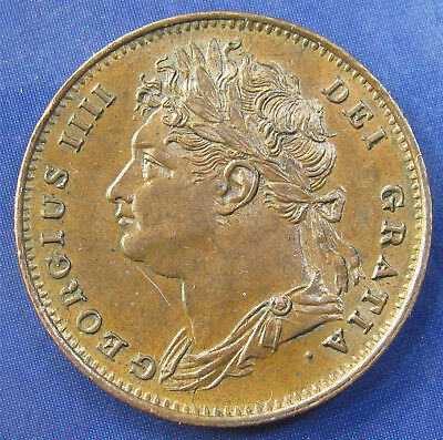 1825 ¼d George IV copper Farthing: raised leaf midribs, extremely high grade