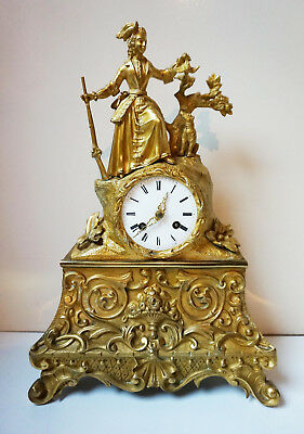 19th French Rococo style - Louis Phillipe Gilt-Bronze Mantle Clock Hunting Scene