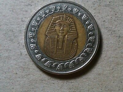 Egypt 1 pound 2007 King Tut bi-metallic coin . circulated
