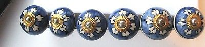 Ceramic Porcelain knobs White and Blue   x 6 hand painted in India