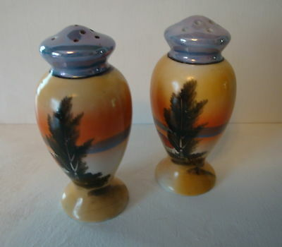 Vintage Japan Hand Painted Luster Ware Scenic Salt and Pepper Shakers